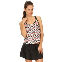 Famous MakerWomen's Ethnic Chevron Nylon and Spandex Two-Piece Double Crossback Blouson Tankini With Skirted Bottom