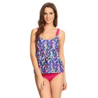 Famous Maker Women's Blue Nylon and Spandex Plaid 2-piece Over-the-shoulder Tankini Set