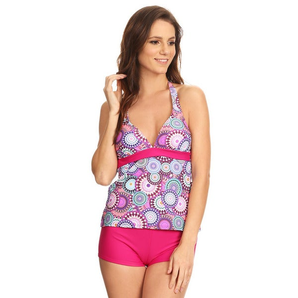 40a8c749da Shop Famous Maker Pink Carnival Women's Multicolored Nylon and Spandex  2-piece Halter Tankini with Boyshorts - Free Shipping On Orders Over $45 -  Overstock ...