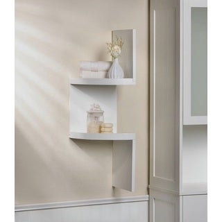 Weston White 2-Shelf Corner Wall Display