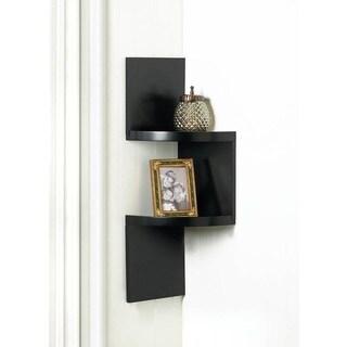 Weston Black 2-Shelf Corner Wall Display
