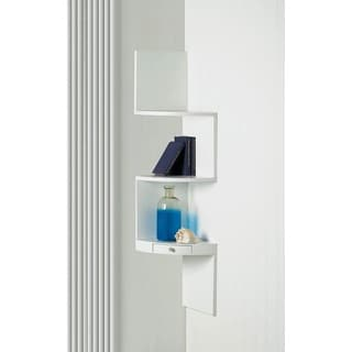 Weston White 3-Shelf Corner Wall Display with Miniature Drawer
