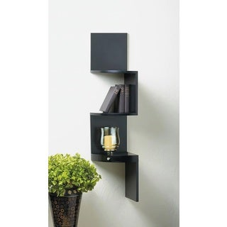 Weston Black 3-Shelf Corner Wall Display with Miniature Drawer