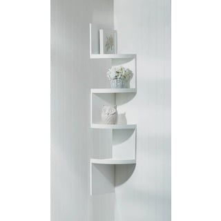 Weston White 4-Shelf Corner Wall Display