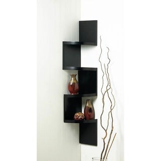 Weston Black 4-Shelf Corner Wall Display