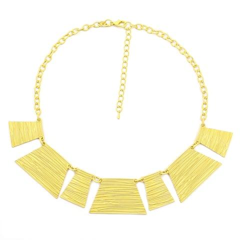 Liliana Bella Handmade Yellow Chunky Bib Necklace - White