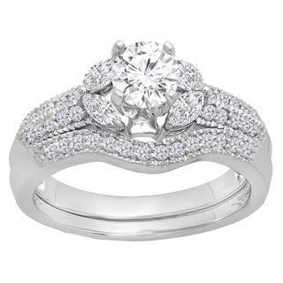 Elora 14k White Gold 1 3/8ct TDW Round and Marquise-cut Diamond Bridal Ring Set (I-J, I1-I2)