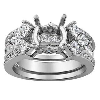 Elora 14k White Gold 1 1/3ct TDW Princess and Round-cut Diamond Engagement Ring (H-I, I1-I2)