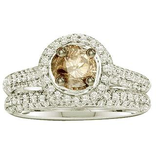 Elora 14k White Gold 1 1/4ct TDW Round Champagne and White Diamond Halo Style Bridal Set (I-J, I1-I2)