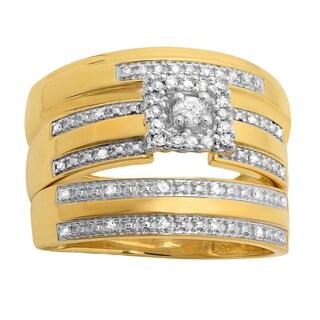 Elora 10k Yellow Gold 1/4ct TDW Round-cut Diamond Trio Bridal Set (H-I, I1-I2)