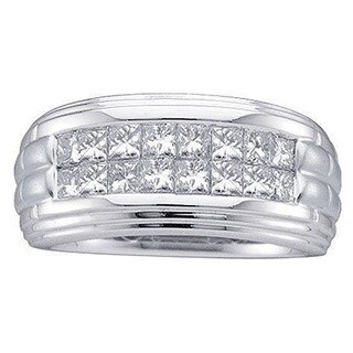 Elora 14k White Gold Men's 1ct TDW Princess-cut White Diamond Fashion Wedding Band (H-I, I1-I2)