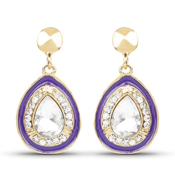 40a61cde3a Liliana Bella Goldplated Purple Enamel and White Crystal Dangle Drop  Earrings