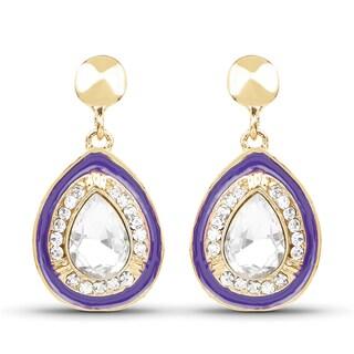 Liliana Bella Goldplated Purple Enamel and White Crystal Dangle Drop Earrings