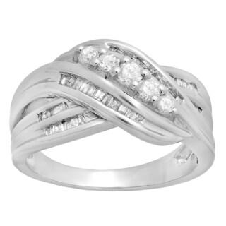 Elora 10K White Gold 1/2 ct TDW Round & Baguette Diamond Ladies Vintage Style Swirl Bypass Anniversary Wedding Band (H-I, I1-I2)