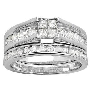 Elora 14k White Gold 1 1/4ct TDW Champagne and White Diamond Halo Bridal Ring Set (I-J, I1-I2)