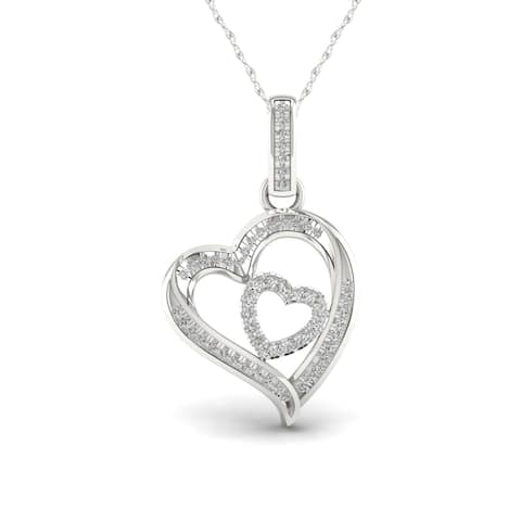 1/6ct TDW Diamond Double Heart Necklace in Sterling Silver - White
