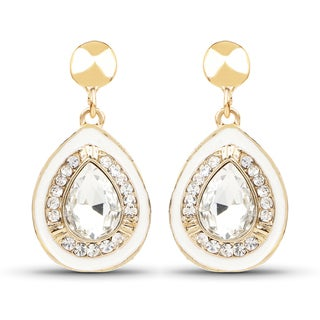 Liliana Bella Goldtone Dangle Drop Earrings with White Enamel and White Stone