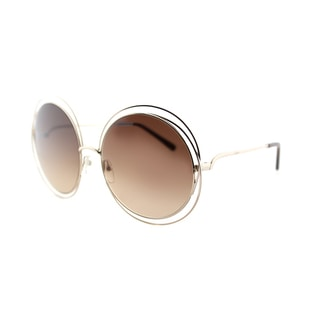 Chloe Women's CE 114S 784 Carlina Gold Transparent Brown Metal Round Sunglasses with Brown Gradient Lenses