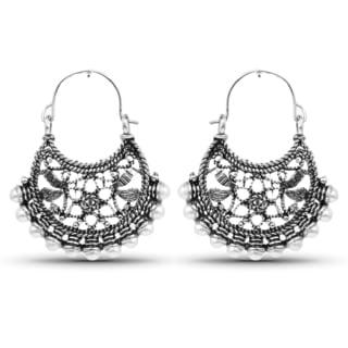 Liliana Bella Oxidised Boho Hoop Earrings with White Pearls