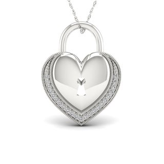 1/10ct TDW Diamond Heart-Shaped Lock Necklace in Sterling Silver - White