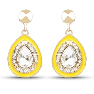 Liliana Bella Goldtone Yellow Enamel and White Stone Dangle Drop Earrings
