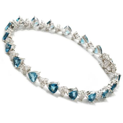 Sterling Silver London Blue Topaz and White Topaz Tennis Bracelet