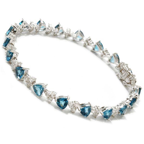 Sterling Silver London Blue Topaz And White Tennis Bracelet