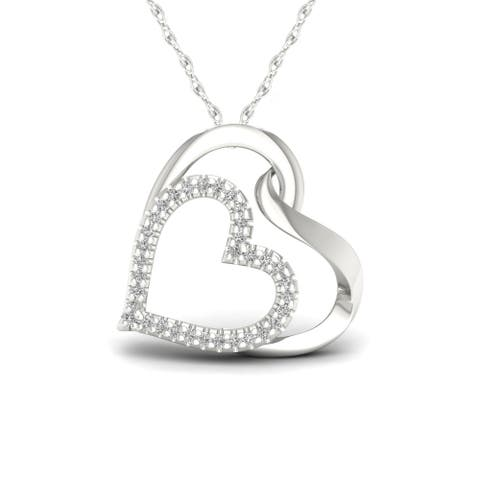 1/10ct TDW Diamond Double Heart Necklace in Sterling Silver - White