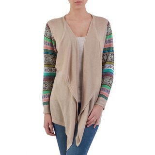 Handcrafted Acrylic Cotton 'Beige Southern Star' Cardigan (Peru)