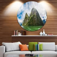 Designart 'View to Sognafjord in Norway' Landscape Photo Large Disc Metal Wall art