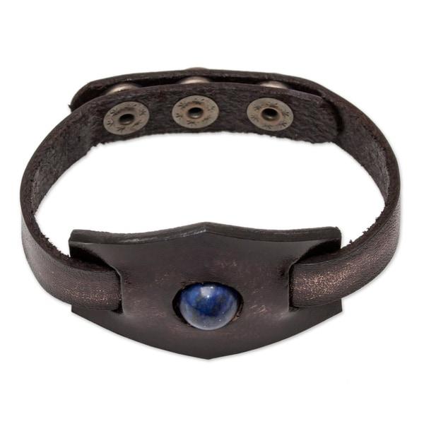 Handmade Leather Blue Soul Lapis Lazuli Bracelet (Thailand). Opens flyout.