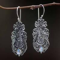 Handmade Sterling Silver 'Rainbow Flowers' Rainbow Moonstone Earrings (Indonesia)