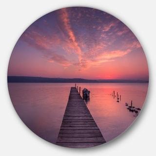 Designart 'Wooden Pier Under Red Sky' Seascape Photo Disc Metal Artwork