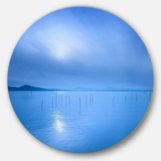 Designart 'Blue Water Surface in Morning' Seascape Photo Disc Metal Artwork