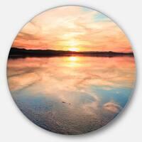 Designart 'Sensational Sunset in Australia' Seascape Photo Round Metal Wall Art