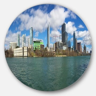 Designart 'Austin Skyline on Sunny Day' Cityscape Photo Circle Wall Art