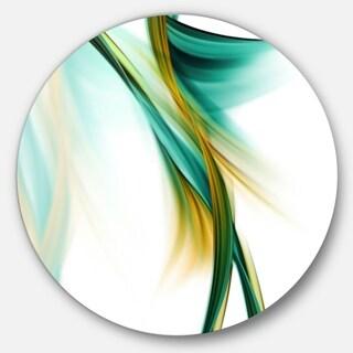 Designart 'Blue Gold Texture Pattern' Abstract Digital Art Circle Wall Art