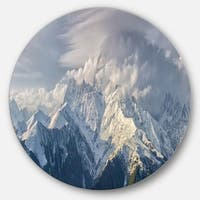 Designart 'Ushba Peak in Clouds' Landscape Photo Disc Metal Wall Art
