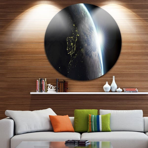 Designart 'Earth View with Day and Night Effect' Digital Art Round Wall Art