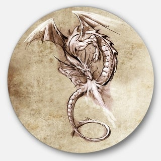 Designart 'Fantasy Dragon Tattoo Sketch' Digital Art Disc Metal Wall Art