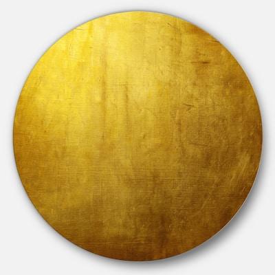 Designart 'Gold Texture Wallpaper' Abstract Digital Art Round Wall Art