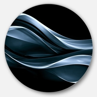 Designart 'Fractal Lines Blue in Black' Abstract Digital Art Disc Metal Wall Art