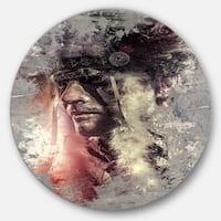 Designart 'Native American Indian Warrior' Portrait Digital Art Round Metal Wall Art