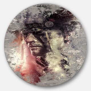 Designart 'Native American Indian Warrior' Portrait Digital Art Round Metal Wall Art