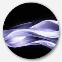 Designart 'Fractal Lines Purple in Black' Abstract Digital Art Round Wall Art