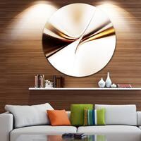 Designart 'Dynamic Golden Waves' Abstract Digital Art Round Metal Wall Art
