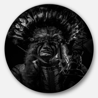 Designart 'American Indian Tribal Chief' Portrait Digital Art Circle Wall Art