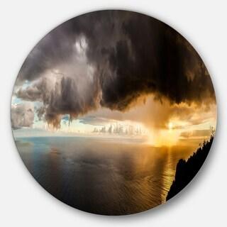 Designart 'Storm Dark Could at Sunset' Landscape Photo Round Metal Wall Art