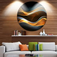 Designart '3D Gold Waves in Black' Abstract Digital Art Disc Metal Artwork
