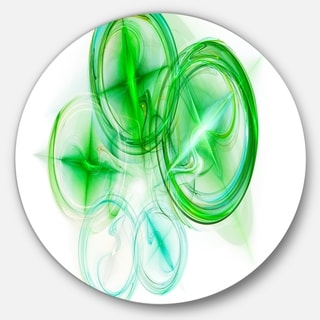 Designart 'Green Fractal Desktop Wallpaper' Abstract Digital Art Large Disc Metal Wall art